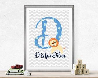 Letter Monogram Nursery Wall Art - Custom Baby Name Decor - Baby Initial Wall Art - Personalized Nursery Decor - New Baby Gift - Baby Shower