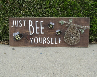 Just BEE Yourself with Beehive and Bees String Art *Made-to-Order*