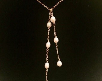 Gold Chain and Pearl Lariat