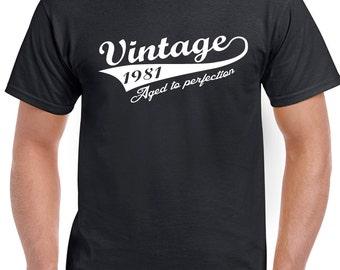Vintage Since 1981 Mens 37th Birthday T-Shirt VIN81