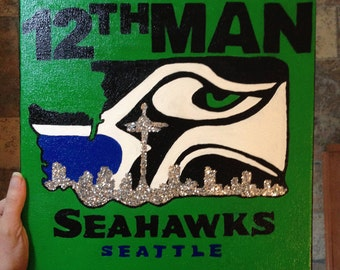 Hand-Painted Seattle Seahawks 12th Man Canvas