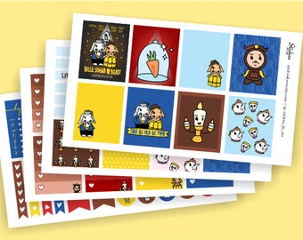 Belle Sugar and the Beast KIT Planner Stickers   for use with Erin Condren LifePlanner™   Beauty and the Beast inspired   Belle