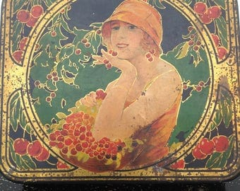 Beautiful 1920s tin Art Deco flapper vintage antique