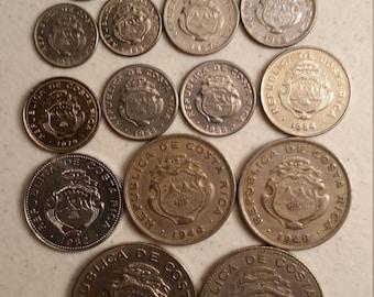 17 costa rica vintage coins 1948 - 1982  - coin lot centimos colon - world foreign collector money numismatic a82