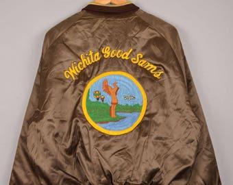 vintage baseball jacket, b-1 bomber jacket, vintage varsity jacket, souvenir jacket