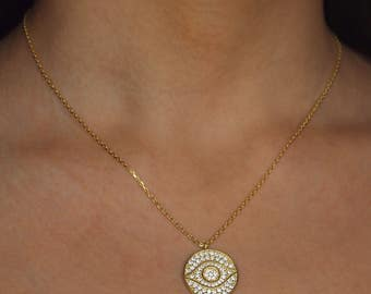 MEDA NECKLACE | evil eye pendant | gold pendant | kim kardashian style | pablo | Gold chain and gold pendant necklace