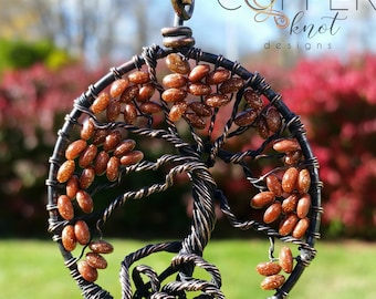 Brown goldstone fall tree of life wire wrapped pendant