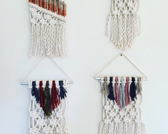 Mini Macrame Wall Hangings with Copper and Yarn Great Gift Home Decor Boho Modern Wall Art