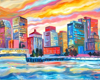 cityscape oil Urban landscape oil America's oil paintings American landscape oil New York landscape  New York skyline landscapes of America