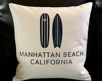 Surf's Up Manhattan Beach California 18 x 18 Canvas Pillow