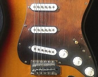 Pickguard vegetable tanning leather, wood pattern, gradient color black/tan, for Fender Stratocaster