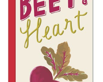 Be Still My Beeting Heart Punny Beet Card Long 4 x 9, Love Greeting Card, Anniversary Card, Wedding Card, Engagement Card