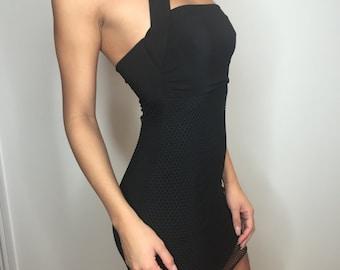 Bodycon dress / Black dress / Choker / LBD / Little black dress / Mini dress / Fishnet / net / Stretch / Party dress / Bandeau / Boobtube