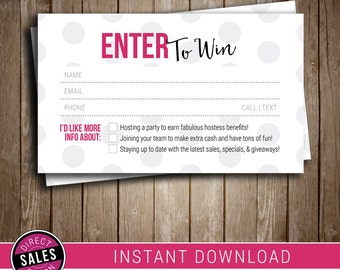 Raffle Ticket | Door Prize | Instant Download | Business Card | Printable | Digital File | Perfectly Posh Compatible