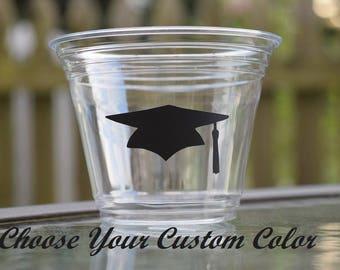 20 Graduation Cups, BPA Free, 9 12 & 16 oz Cups, Graduation Cap Cups, Graduation Party Cups, Plastic Disposable Party Cups, School Colors