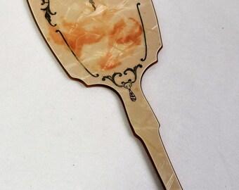 Vintage Bakelite Hand-Held Mirror/ Bedroom Decor