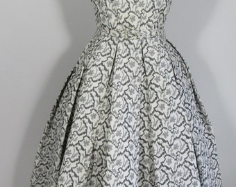 1950s Grey & White Jaquard Dress-UK 8 Prom Party Wedding Ascot Goodwood National