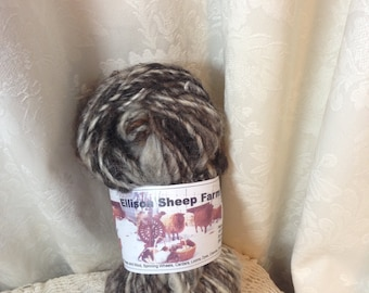 Wool and Mohair Handspun Yarn from natural colored gray, black, brown, and white sheep, From Ellison Sheep Farm