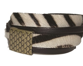 Zebra leather Cuff Bracelet