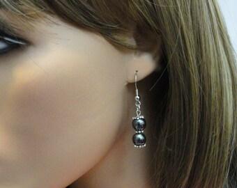 Hematite Earrings, Silver Earrings, Silver Beaded Earrings, Hematite Stone Earrings, Black Gemstone Earrings, Black Stones, EMAN41