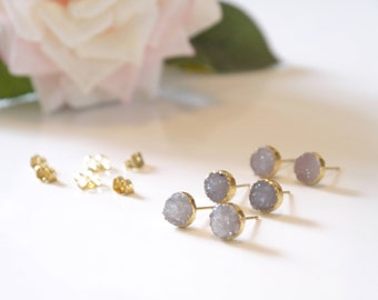 Druzy Earrings | 10mm Druzy Stud Earrings | Gold Earrings | Natural Raw Stone Druzy