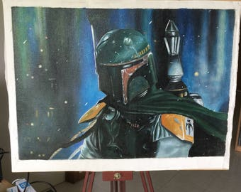 He's no good to me dead - Boba Fett (oil on canvas painting)