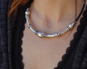 women leather silver necklace, viking necklace, pagan necklace, ethnic necklace, bohemian necklace, nordic necklace, witch, steampunk
