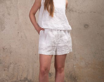 Womens Clothing - Womens Linen Shorts - Linen Shorts - White Linen Shorts- Linen Summer Shorts - Plus Size Linen Skorts- Natural Linen Dress
