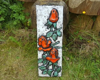 Ruscha: Large Vintage Ceramic West German Fat Lava Wall Plaque with Red Rose Relief