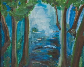 My blue forest and my original painting on canvas