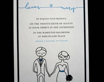 Custom Personalized Illustrative Wedding Invitation Suite (Printable PDF)