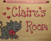 Personalized Name Plaque. Elephant Room Sign. Hand Painted and Lettered. Door Sign. Room Decor. Children's Name Sign