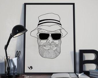 Seany Boy, Original Art, Custom Cartoon Portrait, Cartoon Art, Cartoon Illustration, Black and White Print, VillainBros, Bobby Manquen
