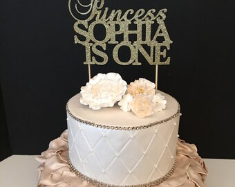 Princess Birthday Topper, Gold Glitter Personalized Cake Topper, First birthday cake topper, princess cake topper Any Name and Number