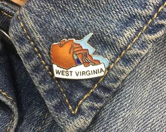 Vintage West Virginia enamel lapel pin (stock# T13) | 50 states, west virginia pin, travel pin, hat pin, hat pins