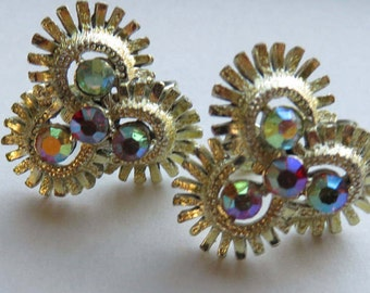 Vintage Coro Rhinestone Earrings Vintage Costume Jewelry Auroro Borealis Coro Screw Back Earrings