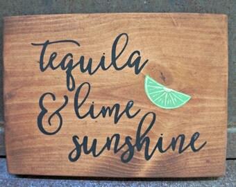 tequila lime & sunshine | Wood Signs | Wooden Sign | Summer Sign | Bar Decor | Home Decor | Kitchen Decor | Summer Decor | Bar Sign