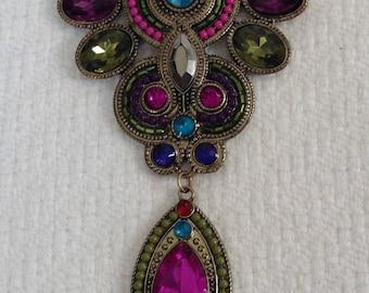 Vintage Gold Colorful Statement Necklace