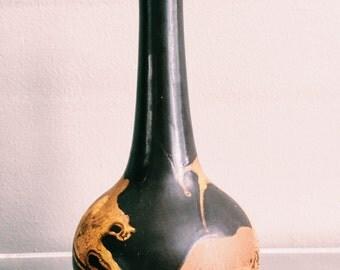 """Vintage 10"""" Glazed Haeger Trumpet Vase"""