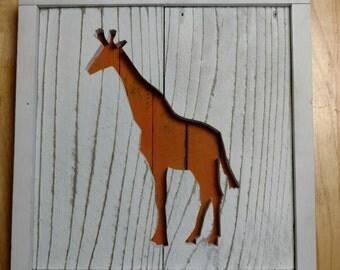 Nursery animal wall decor - Giraffe - Reclaimed Wood - Barnwood - Pallet wall art - Hippo - Moose - Whale - Bear - Ladybug - Elephant  goose
