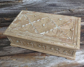 Vintage Carved Wood Box Painted Finish