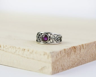 Customised Lilith Celtic Ring, Choose Gemstone, Sterling Silver, Silver Celtic Ring, Celtic Jewelry, Wiccan Jewelry, Pagan