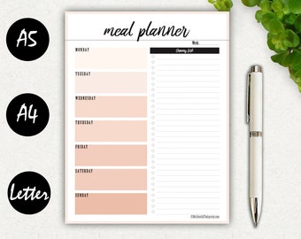 Meal Planner Printable, Menu Planner, Grocery List, Fitness, Weight Loss, Weekly Meal Planner, Notebook, Planner Inserts PDF, A5, A4, Letter