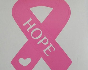 Breast Cancer Awareness Ribbon.  Survivor, Hope, Faith. Vinyl decal for yeti & rtic tumblers, car windows, phones, laptops, tablets etc.