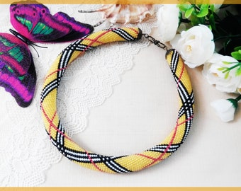 Unique yellow necklace for mother Statement beadwoven necklace Women's day Woman beaded necklace Beadwork beaded jewelry yellow Mother's day