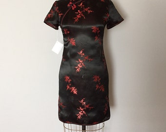 SALE...asian mini dress | 90s geisha black and red mini