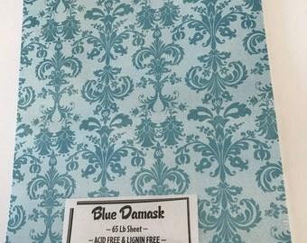 Blue Damask Printed Cardstock 65 lb Patterned Paper 8.5 x 11 25 sheets