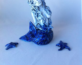 Mermaid with Flower Porcelain Sculpture