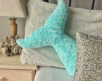 Mermaid Decor Pillow Tail Room Decor Bedroom Nursery Turquoise Under the Sea Pillows Kids Teens Adults Baby Shower