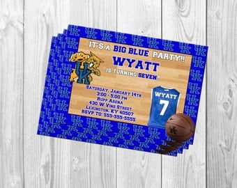 Kentucky Wildcats UK basketball Birthday Party Invitation Big Blue Nation